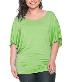 Love this Green Slouchy Round-Neck Top - Plus by 42POPS on #zulily! #zulilyfinds