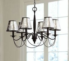 Antique Mercury Glass Chandelier Shade, Set of 3 #potterybarn....Love shades and chandelier!!
