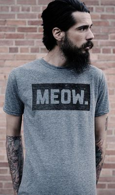 Meow tee men koszulki, strój ve guy Hipsters, Mode Style, Style Men, Bearded Men, Sexy Men, Grunge, Indie, Beautiful Men, Shirt Designs