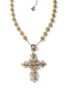 Dolce and Gabbana jewellery gold necklace filigree mixed gems.