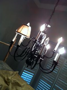The Miller Spot: Revamping a Chandelier: From Brass to Black