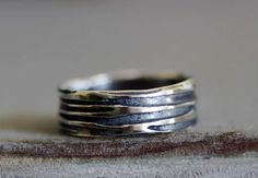 Wedding Band Sterling Silver Hand Scraped Wood by MossyCreekStudio