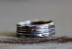 Men's Sterling Silver HAND SCRAPED Wood Grain by MossyCreekStudio