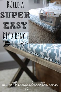 Build a super easy DIY x Bench for the foot of the bed