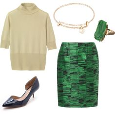 A fashion look from July 2014 featuring pullover sweater, green skirt and navy blue shoes. Browse and shop related looks.