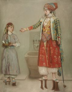 Lady in turkish costume and her servant in a hammam by Jean Étienne Liotard,mid 18th c.