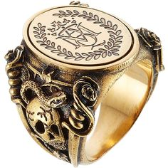 Alexander McQueen Gold Tone Signet Ring ($175) ❤ liked on Polyvore featuring jewelry, rings, gold, alexander mcqueen jewelry, alexander mcqueen, skull jewellery, thick rings and skull jewelry