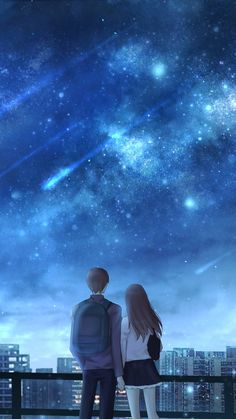 Anime scenery by czy Cute Couple Drawings, Anime Couples Drawings, Cute Couple Art, Anime Love Couple, Anime Couples Manga, Cute Anime Couples, Wallpaper Animes, Animes Wallpapers, Girls Anime