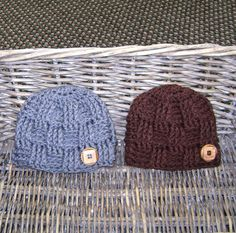 Baby Boy Hat   Infant Hat  Photo Prop Newborn Hat  Crochet Baby Hat Beanie - Basket Weave Baby Hat.  via Etsy.