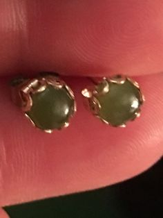 8mm Round Green Jade Stud Scalloped Cabochon Post Earrings Solid 14k Yellow Gold | eBay
