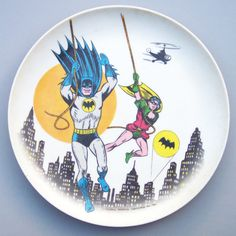 For the Boy // Vintage 1966 Batman & Robin Plastic Plate by VintageSeller76, $15.00