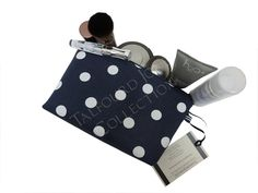 Small White, Blue Polka Dot Cosmetic Pouch - Premier Prints - Handmade Fabric Makeup Bag - Knitting Notions Bag - Knitter Gift Idea by TalfourdJones on Etsy