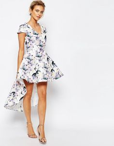 Buy True Decadence Mini Prom Dress in Allover Floral With High Low Hem at ASOS. Get the latest trends with ASOS now. Mini Prom Dresses, High Low Prom Dresses, Formal Dresses For Weddings, Nice Dresses, Graduation Dresses, Floral High Low Dress, White Floral Dress, Party Dresses Online, Prom Dress Shopping