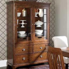 Dining Room display/storage cabinet, Bassett Furniture.  It also has slide-out storage in the very back with dowel rods for hanging linens.