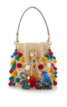 Claudia With Pom Poms Bucket Bag by DOLCE & GABBANA for Preorder on Moda Operandi