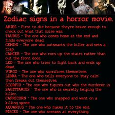 If the zodiac signs were in a horror movie.