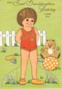 Sweet Granddaughter Birthday Greeting Paper Doll Card RARE Uncut Vintage Gibson | eBay