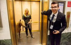 Fritz with the elevator at the State Legislative Building. Photo by Val Shaff