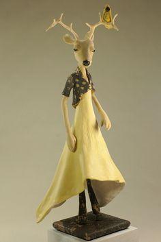 Deer Girl with Yellow Bird - ooak Art Doll Figurative Sculpture by theFiligree, Celena & Martin, via Flickr