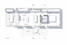 Image 5 of 23 from gallery of Allotment House / Kristian Olesen. Courtesy of Kristian Olesen Narrow House Plans, Porch House Plans, Cabin Plans, Architecture Plan, Residential Architecture, Roof Design, House Design, The Plan, How To Plan