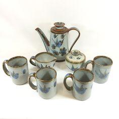 El Palomar Tea Service, Tonala Stoneware Coffee Pot Set, Ken Edwards Pottery, Mexican Pottery, Includes Pot, Cream and Sugar and 4 Mugs