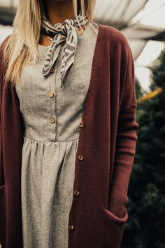 Grey Dress + Lilac Cardigan | ROOLEE