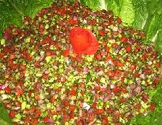 Find this at George's in Racine-YUM---Salad-e Shirazi       4 Servings    Ingredients:   4 medium tomatoes  2 small cucumbers  1 medium onion  3-4 tablespoons fresh lime juice  2-3 tablespoons virgin olive oil  200 grams fresh mint (or 1 teaspoon dry mint)  1/4 teaspoon salt  1/6 teaspoon black pepper, Mix in cuscous