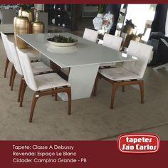Essa linda mesa do Espaço Le Blanc foi feita para o nosso Classe A Debussy. Par perfeito! Espaço Le Blanc - Av. Cônsul Joseph Noujaim Habib Nacad, 495. #Decor #TapetesSaoCarlos