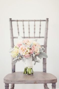 Silver Dusty Miller and Pink Peony Bouquet