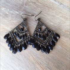 Black & sliver earrings Cute and unique. Chandelier earrings. No trades. Visit my closet for more jewelry to bundle. Jewelry Earrings