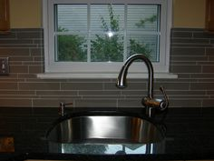 D-shaped sonk with off center faucet. I like the tile backsplash as well New Milford, Guest Cabin, Cabin Kitchens, Home Reno, Backsplash, Faucet, Sink, Kitchen Ideas, Pattern
