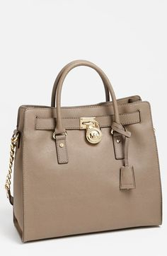 MICHAEL Michael Kors 'Large Hamilton' Saffiano Leather Tote at Nordstrom.com. Scratch-resistant Saffiano leather provides rich texture to a structured satchel embellished by a chunky monogrammed padlock. A chain-and-leather shoulder strap adds an elegant option to a timeless look.