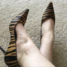 Antonio Melani SZ 9 zebra print pointy toe heels Antonio Melani size 9M tan and black zebra print heels with pointy toe and fir like texture. Some wear on bottom, these were my favorite shoes I just don't have anywhere to wear them anymore! ANTONIO MELANI Shoes Heels
