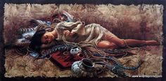 "A Native American woman lays on her hide filled with beads, pots and feathers in Lee Bogle's Memories of Times Past. This print is signed and numbered and is available unframed in size of 29.75""x15"""