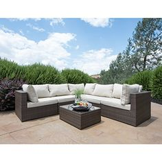6pcs all weather dark brown wicker coffee table patio sectional