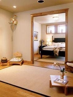 33 Minimalist Meditation Room Design Ideas | DigsDigs.  Love the mat and the meditation chair.