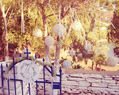 Kea Island Wedding, Cyclades, Greek Wedding, Baby's Breath, Church Door, Wedding Logo, White Hanging Balls, Ivoire Ribbons