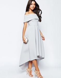 Buy ASOS Off The Shoulder Bardot Scuba Dip Back Maxi Dress at ASOS. Get the latest trends with ASOS now. Robes D'occasion, Robes Midi, Classy Dress, Classy Outfits, Bridesmaid Dresses, Prom Dresses, Formal Dresses, Beautiful Dresses, Nice Dresses
