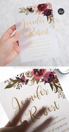 Burgundy marsala and blush floral UV printing wedding invitation on Vellum paper EWUV020 #EWI