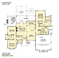 Plan of the Week Under 2500 sq ft - The Sloan house plan 1528! 2258 sq ft | 3 Beds | 2.5 Baths The Sloan is overflowing with curb-appeal, from the decorative wooden brackets adorning the gables to the metal accent roof. The floor plan is equally impressive with a gourmet island kitchen. #wedesigndreams #modernfarmhouse Best House Plans, Dream House Plans, Small House Plans, House Floor Plans, Rustic House Plans, Modern Farmhouse Plans, Urban Farmhouse, One Story Homes, Good House