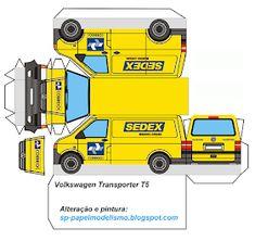 Paper Model Car, Paper Car, Paper Models, Paper Toys, Diy Paper, Volkswagen Transporter, Transporter T5, Cardboard Design, Child Models
