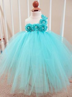 Aqua Tutu Dress  Flower Girl Tutu  Dress by ClassySassyElegance, $68.00
