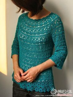 Tejido Facil: Patrón: Casaca verde azulada preciosa!