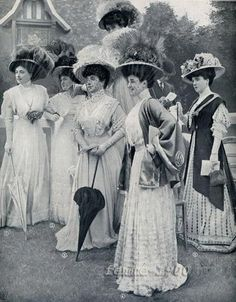 1907, love the polka dot dress in back with the wrap.