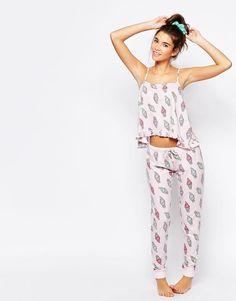 ASOS Ice Cream Frill Cami & Legging Pyjama Set at ASOS