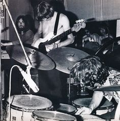 Pink Floyd tightly packed on stage early 1970s