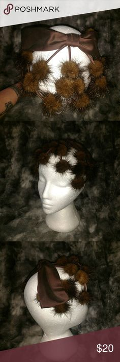 Vintage mink web and Bow hat Very cool hat headpiece Circa 1930s with mink webbing and brown satin bow Vintage Accessories Hats
