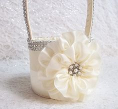 Ivory Flower Girl Basket with Rhinestone Mesh handle and Trim, Bling Basket, Custom Made to Order