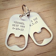 Personalized Keychain Bottle Opener for the groomsmen. I think this is very fitting for Jake's groomsmen Country Wedding Gifts, Gifts For Wedding Party, Wedding Wishes, Wedding Favours, Party Gifts, Our Wedding, Dream Wedding, Wedding Ideas, Party Favors
