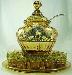 Moser 1880 (Covered Punch Bowl w glasses and ladle? Crystal Glassware, Crystal Vase, Punch Bowl Set, Ludwig, Bottle Art, Carnival Glass, Antique Glass, Glass Bottles, Glass Art